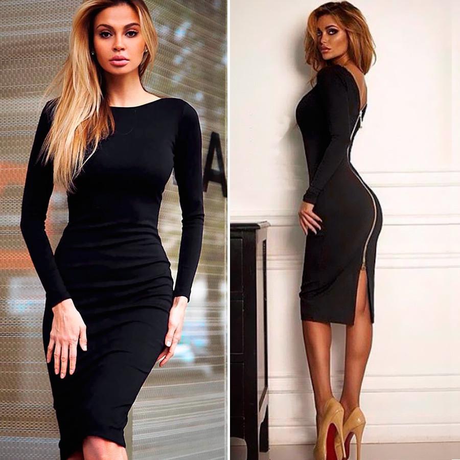 Женское черное платье на молнии (Код MF-189) О В