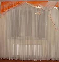 Жесткий ламбрекен  Три Волны персик с оранжевым, фото 1
