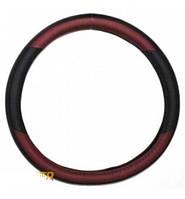 Чехол на руль КОЖА XL (42-43см) черно-красный KSW-2951-1