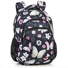 Рюкзак школьный ортопедический черный с бабочками модный с карманами на два отдела в 4-7 класс Dolly 542