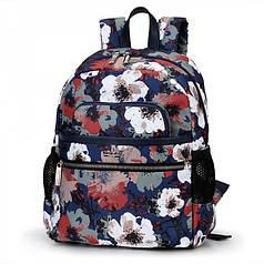Рюкзак женский городской синий маленький в ярких цветах модный с карманами Dolly 393