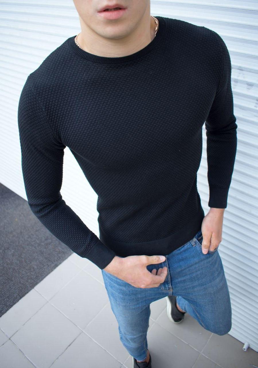 Мужской свитшот базовый темно-синего цвета. Модный базовый мужской свитшот темно-синий.