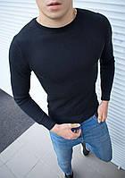 Мужской свитшот базовый темно-синего цвета. Модный базовый мужской свитшот темно-синий., фото 1
