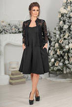 Костюм жіночий двійка плаття з пишною спідницею і піджаком чорного кольору