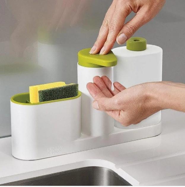 Органайзер для раковины с дозатором Sink Base Plus подставка для губки моющего щетки синк бэйс плюс