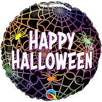 """Фольгований шар з малюнком Happy Halloween павутина і павуки 45 см (18"""")"""