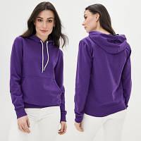 Женская фиолетовая толстовка Худи с капюшоном из двунитки, Батник однотонный весна-осень