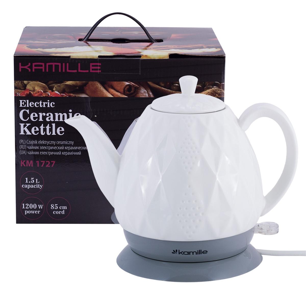 Чайник белый электрический из керамики 1.5 л.