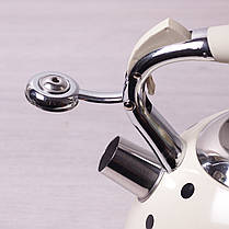 """Чайник в горошек 3л из нержавеющей стали со свистком и ручкой с покрытием """"soft-touch"""" для индукции, фото 3"""