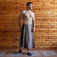 Банное полотенце махровое на запах 90х150 см коричневий, фото 1