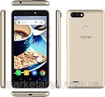 Смартфон золотистый  с большим дисплеем на 2 сим карты Tecno POP2F (B1f) 1/16Gb DS Champagne Gold UA UCRF