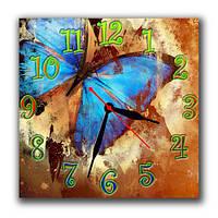 Голубая бабочка - часы настенные 30*30 см