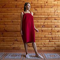 Полотенце вафельное (килт-парео) с лямками 90х150 см бордовый