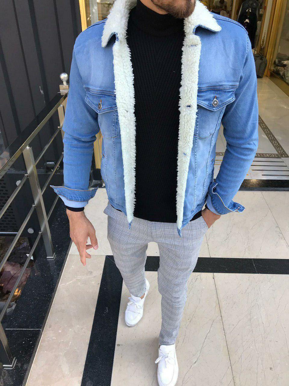 😜 Джинсовая куртка светло-голубая  с белым мехом
