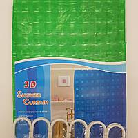 Шторка в ванную силиконовая с  3D эффектом 180х180 см. Зеленый цвет., фото 1