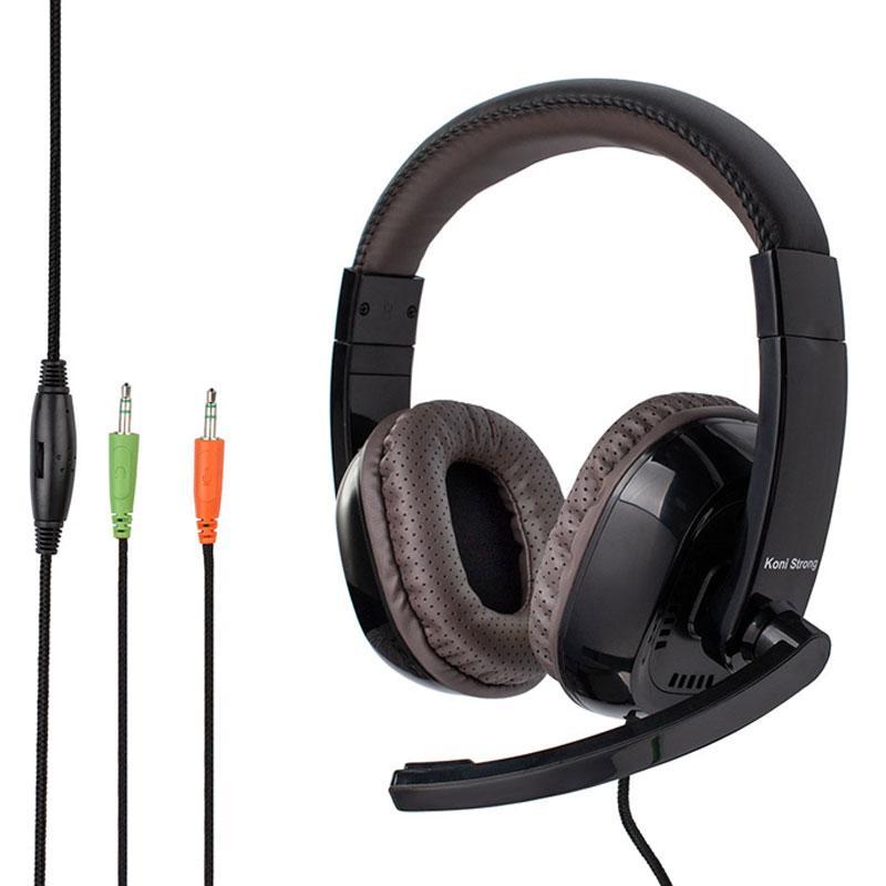Игровые наушники KONI KS-996 с микрофоном Black/brown геймерская гарнитура