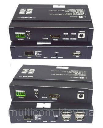 HDMI EXTENDER TX (передатчик) + RX (приемник), 4K, over Fiber/Optica + KVM 4USB+RS232, HSV355