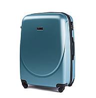 Чемодан Wings 310 большой 75х47х29 см 86 л пластиковый на 4 колесах Голубое серебро (Silver blue)
