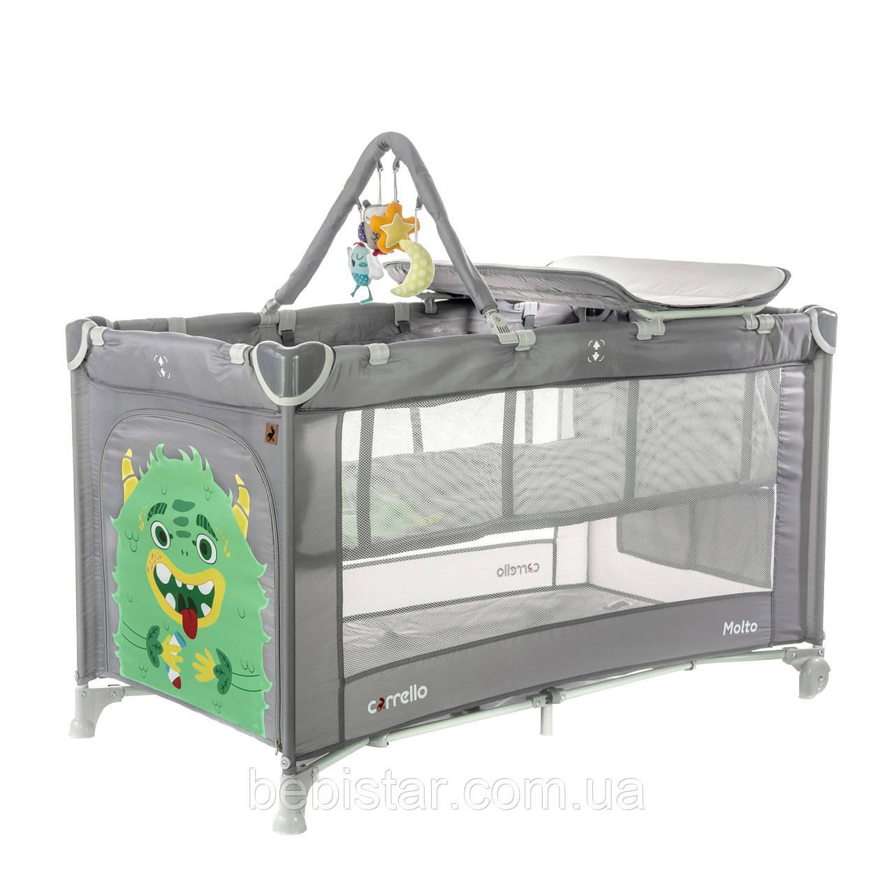 Дитячий манеж-ліжко сірий з колискою і пеленальним столиком CARRELLO Molto CRL-11604 Ash Grey