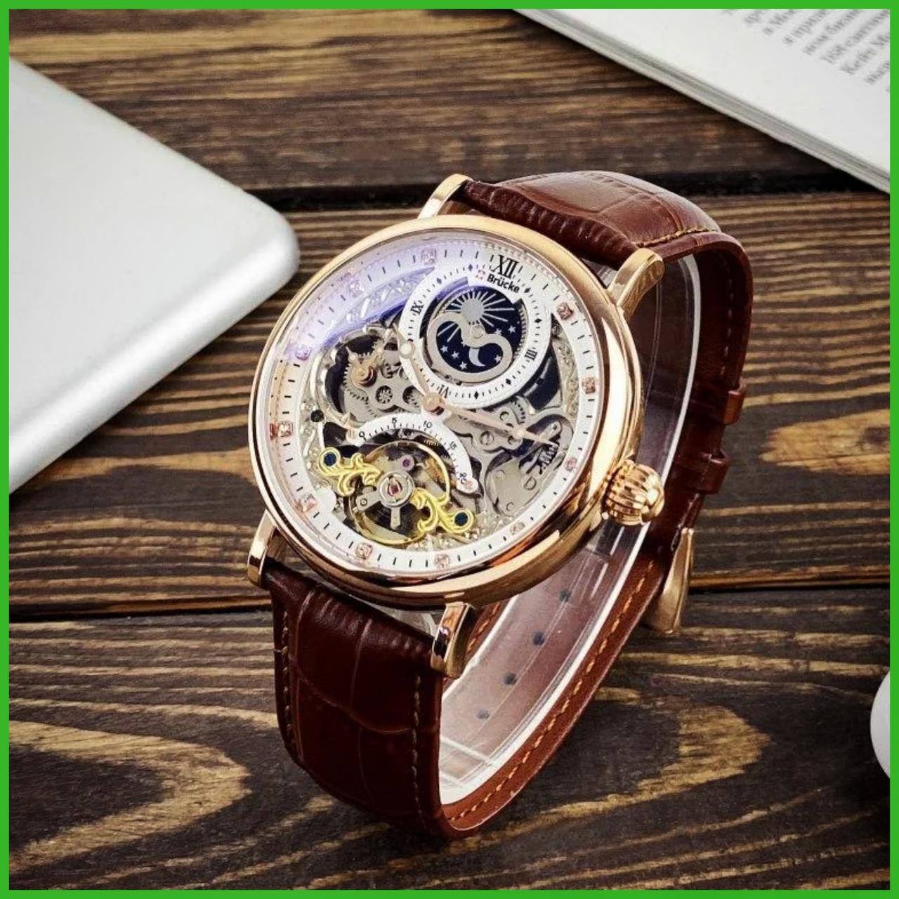 Мужские механические брендовые наручные часы  Brücke J055 Brown-Cuprum .ОРИГИНАЛ!