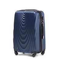 Чемодан Wings 304 большой 77х48х32 см 95 л пластиковый на 4 колесах Темно-синий, фото 1