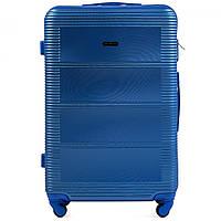 Чемодан Wings K203 большой 75х49х29 см 93л пластиковый на 4 колесах Темно-синий