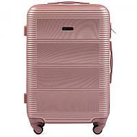 Чемодан Wings K203 большой 75х49х29 см 93л пластиковый на 4 колесах Розово-золотой