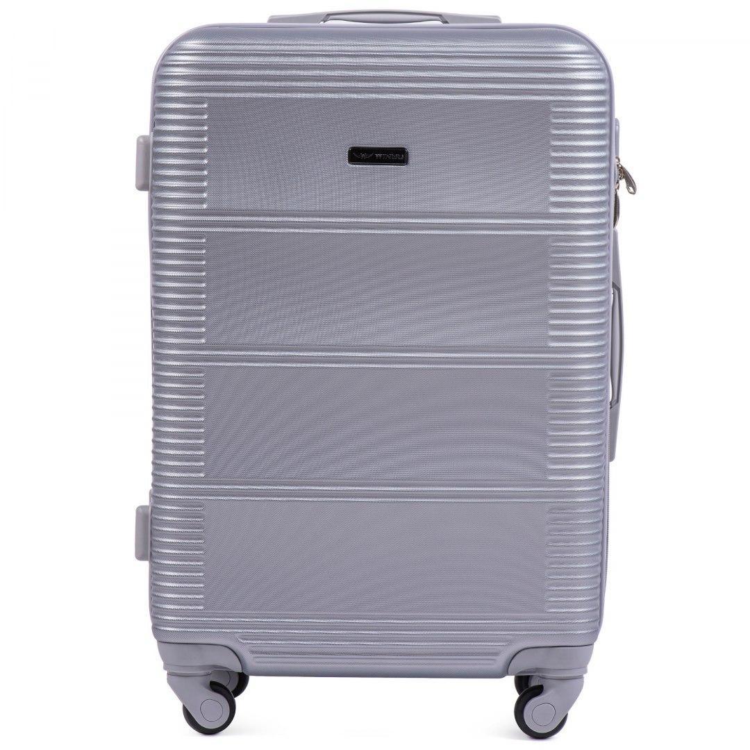 Чемодан Wings K203 средний 65х43х25 см 57л пластиковый на 4 колесах Серебристый
