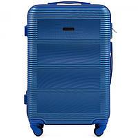 Чемодан Wings K203 средний 65х43х25 см 57 л пластиковый на 4 колесах Темно-синий