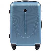 Чемодан Wings 888 средний 66х42х27 см 58 л пластиковый на 4 колесах Серебристо-голубой