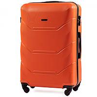 Чемодан Wings 147 средний 67х43х26 см 60 л пластиковый на 4 колесах Оранжевый