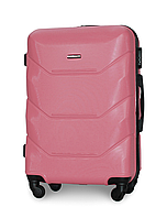 Чемодан Fly 147 большой 78х49х28 см 90л пластиковый на 4 колесах Розовый