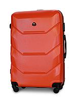 Чемодан Fly 147 большой 78х49х28 см 90л пластиковый на 4 колесах Оранжевый