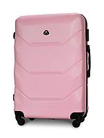 Чемодан Fly 147 большой 78х49х28 см 90л пластиковый на 4 колесах Светло-розовый