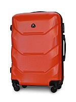 Чемодан Fly 147 средний 67х43х26 см 60 л пластиковый на 4 колесах Оранжевый