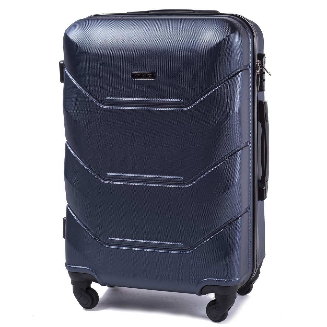 Чемодан Wings 147 средний 67х43х26 см 60л пластиковый на 4 колесах Темно-синий