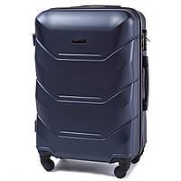 Чемодан Wings 147 средний 67х43х26 см 60л пластиковый на 4 колесах Темно-синий, фото 1