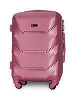 Чемодан Fly К147 малый 55х39х23 см Ручная кладь на 4 колесах Серебряно-розовый