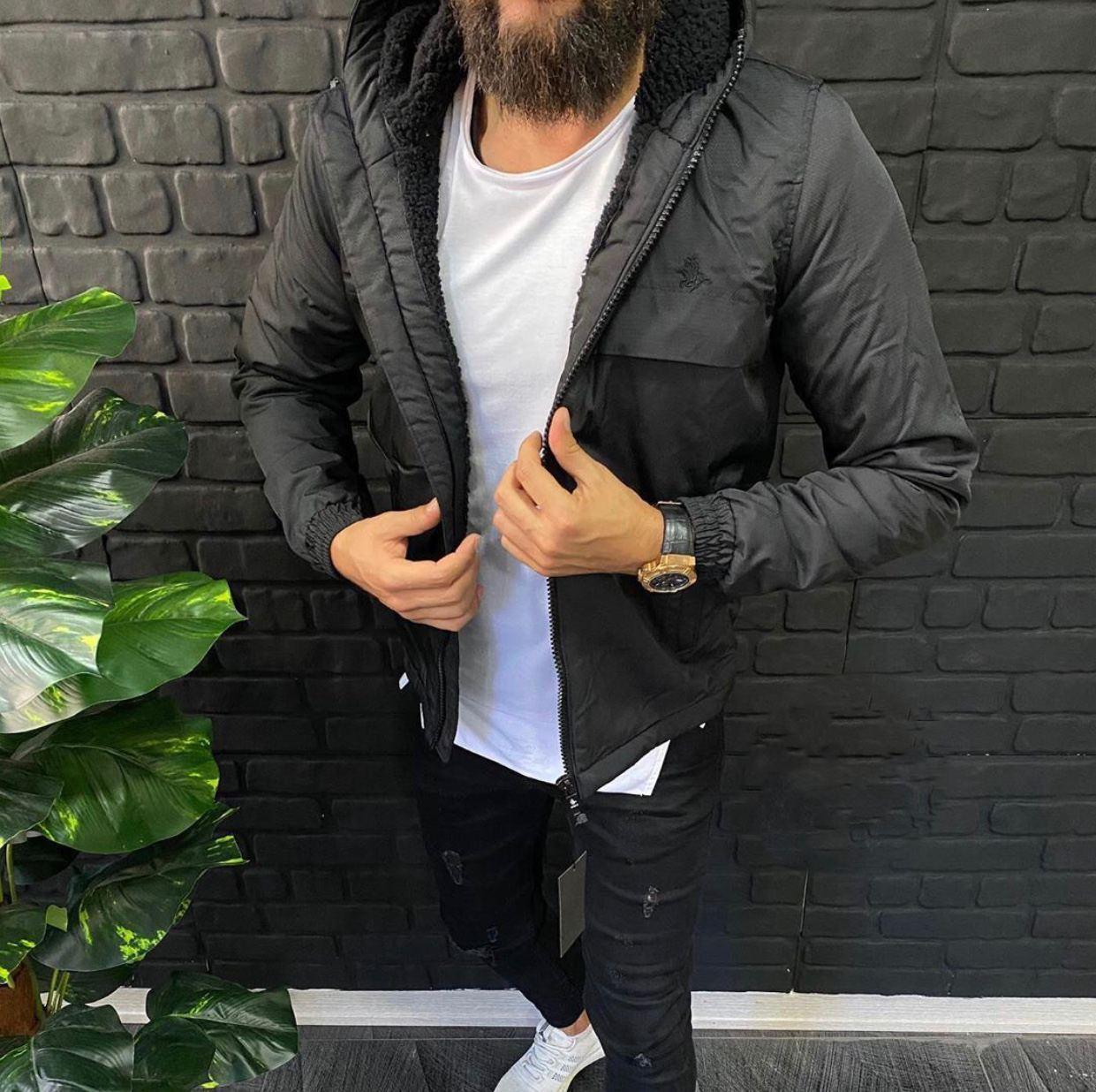 😜 Куртка - Мужскаяя черная куртка на меху (верх плащевка)