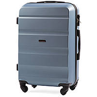 Чемодан Wings AT01 средний 67х43х26 см 59л пластиковый на 4 колесах Голубое серебро