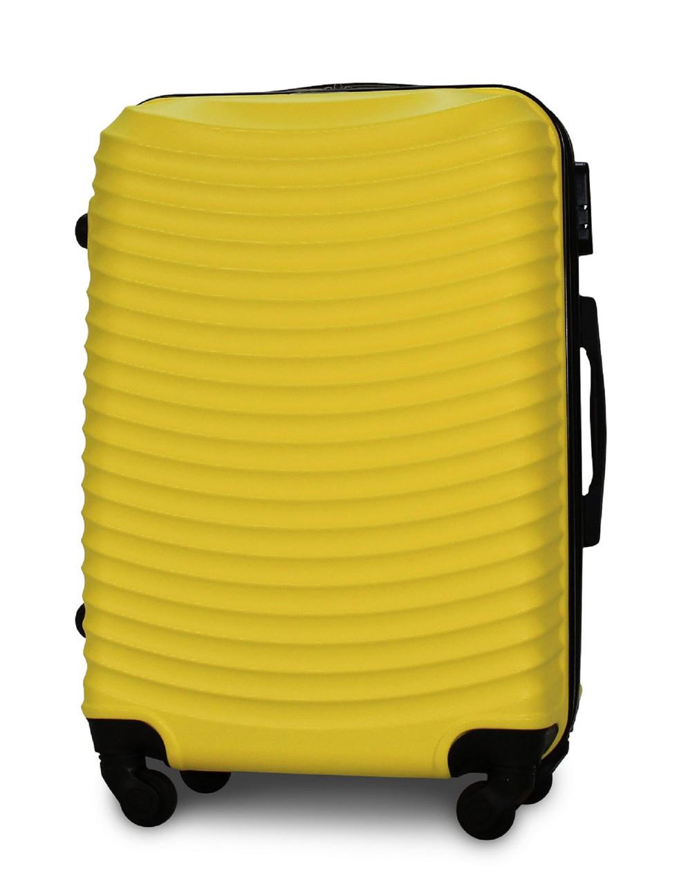Чемодан Fly 1053 средний 65х42х24 см 60л пластиковый на 4 колесах Желтый