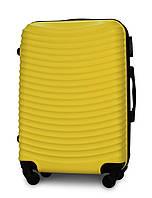 Чемодан Fly 1053 средний 65х42х24 см 60л пластиковый на 4 колесах Желтый, фото 1