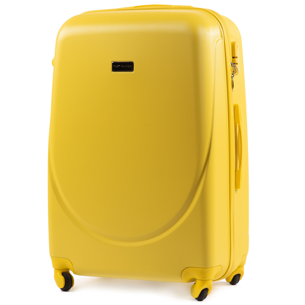 Чемодан Wings K310 большой 75х47х29 см 86л пластиковый на 4 колесах Желтый