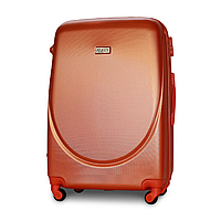 Чемодан Fly К310 большой 75х47х29 см 90л пластиковый на 4 колесах Серебряно-оранжевый