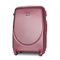 Чемодан Fly К310 большой 75х47х29 см 90 л пластиковый на 4 колесах Серебряно-розовый