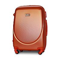 Чемодан Fly К310 средний 65х44х27 см 60 л пластиковый на 4 колесах Серебряно-оранжевый