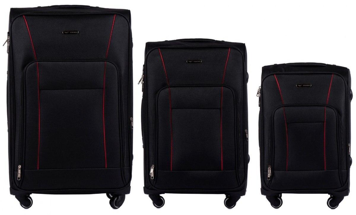 Набор чемоданов 3 штуки в 1 Wings 1609 на 4 колесах Черный