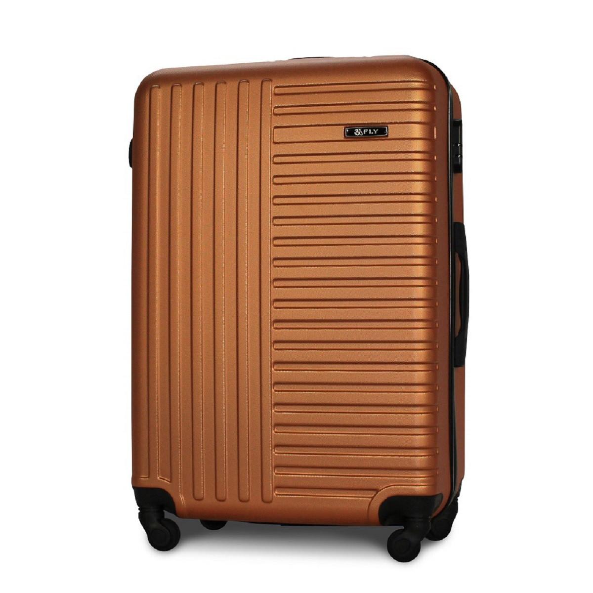 Чемодан Fly 1096 большой 74х49х28 см 94л пластиковый на 4 колесах Оранжевый