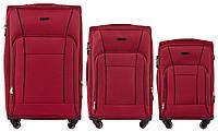Набор чемоданов 3 штуки в 1 Wings 1609 на 4 колесах Бордовый