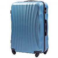 Чемодан Wings 159 большой 75х49х29 см 86л пластиковый на 4 колесах Голубое серебро